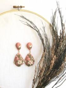 wedding photo - Embroidered collection (all clay)Statement dangles