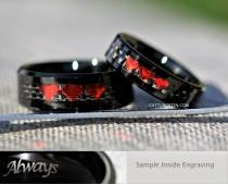 wedding photo - 6MM And 8MM Ruby Red Chrome 8 Bit Hearts Tungsten Wedding Set, Free Inside Engraving