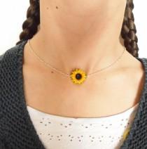 wedding photo - Sunflower choker sunflower necklace sunflower pendant polymer clay jewelry wedding jewellery sunflower jewelry gift for her bridesmaid jewel