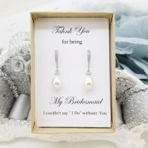 wedding photo - Teardrop style Pearl dangle Earrings, Elegant Bridesmaid Earrings gift