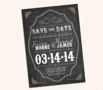 wedding photo - Vintage Chalkboard Save the Date  - Blackboard Invitation Design (good for card, postcard or magnet)