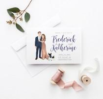 wedding photo - Save the Date Cards with Couple Portrait Drawing - Custom Illustrated Wedding Save the Date Idea - Fun Save the Date Cards  - The Penny