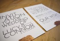wedding photo - Modern Text • Wedding Invitations and RSVPs including Envelopes • Industrial, Boho • Bronze, Silver or Gold