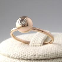 wedding photo - Champagne Diamond Ring, Cognac Diamond Ring, Rose Gold Ring, Simple Diamond Ring, Stacking Ring, Diamond Wedding Band, Minimalist Ring