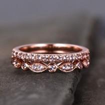 wedding photo - Morganite Wedding Ring Set,Wedding Ring,Morganite Wedding Band,Half Eternity Morganite Wedding Band, Silver Rose Gold Plated,Stacking Ring