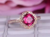 wedding photo - 7x7mm Lab-treated Ruby ring with diamond in 14k rose gold/Halo Stacking ring/Curved unique wedding ring/Vintage style Red birthstone gift