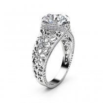 wedding photo - White Gold Filigree  Engagement Ring 14K White Gold Ring Unique Diamonds Engagement Ring