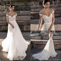 wedding photo -  Discount Gali Karten 2019 Sexy Wedding Dresses Sheer Backless Bohemian Off The Shoulder Lace Appliqued Wedding Gowns Modified A Line Wedding Dress Online Wedding Go