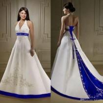 wedding photo -  Discount Court Train Ivory And Royal Blue A Line Wedding Dresses Halter Neck Open Back Lace Up Custom Made Embroidery Wedding Bridal Gowns Simple Wedding Dress Blac