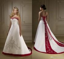 wedding photo -  Discount Red And White Satin Embroidery Wedding Dresses 2019 Retro Strapless A Line Lace Up Court Train Country Bridal Gowns Vestidos Plus Size Bride Dresses Dress