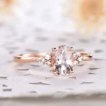 wedding photo - Natural Oval Pink Morganite Engagement Ring Rose Gold Cluster CZ Diamond 14k Sterling Silver Vintage Bridal Jewelry Women Anniversary Gift