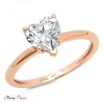 wedding photo - Unique Wedding Ring Set, Unique Wedding Set, Wedding Ring Set, 1.30 Ct Heart Shaped Cut Solitaire Engagement Ring Real 14k Rose Gold