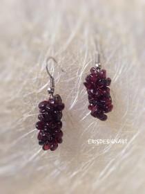wedding photo - Garnet earrings Gemstone earrings Wedding earrings Bohemian earrings Tiny earrings Delicate earrings Girl gift Gift for women