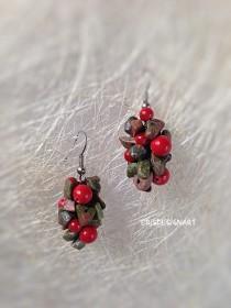 wedding photo - Jasper coral earrings Raw Gemstone earrings Fall earrings Autumn earrings for wife Bold earrings Chunky earrings Formal earrings