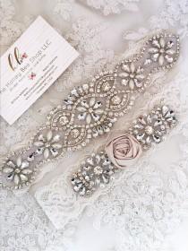 wedding photo - Ivory wedding garter set, no slip grip garter toss and keepsake. Antique white cream rhinestone lace bridal garter with rosette plus size.