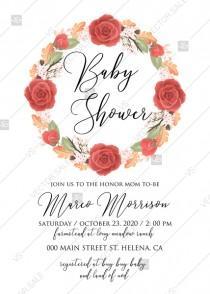 wedding photo -  Baby shower invitation peony wreath autumn fall leaves online customization