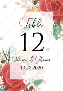 wedding photo -  Table palse card custom template red rose autumn fall leaves pdf