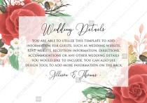 wedding photo -  Wedding Detail card custom template red rose autumn fall leaves custom invitation