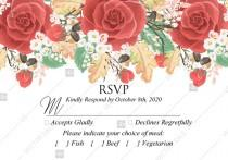 wedding photo -  RSVP card custom template red rose autumn fall leaves pdf bridal shower invitation