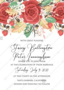 wedding photo -  Wedding invitation custom template red rose autumn fall leaves pdf decoration bouquet