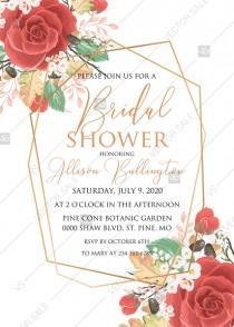 wedding photo -  Red rose Bridal shower invitation spring pink flower greenery pdf custom