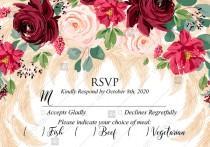 wedding photo -  RSVP Marsala peony rose pampas grass pdf custom online editor