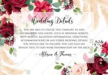 wedding photo -  Wedding details card Marsala peony rose pampas grass pdf custom online editor