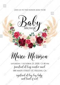 wedding photo -  Baby shower invitation Marsala peony rose pampas grass pdf custom online editor