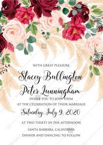 wedding photo -  Wedding invitation Marsala peony rose pampas grass pdf custom online editor