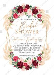 wedding photo -  Bridal shower invitation Marsala peony rose pampas grass pdf custom online editor