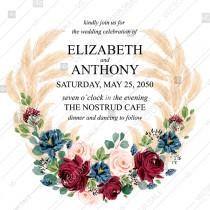 wedding photo -  Wedding invitation marsala peony rose watercolor greenery pampas grass floral PDF 5.25*5.25''