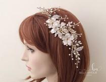 wedding photo - Gold bridal comb Bridesmaids hair piece Gold rhinestone comb Bridal hair accessories Wedding head piece Bridal gold  hairpiece Brides comb