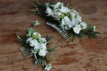 wedding photo - Bridesmaid forest Comb greenery Wedding  floral bridal white