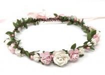 wedding photo - Blush flower crown, spring flower crown, flower girl crown, bridal flower crown, bohenian flower crown, flower headband, wedding crown