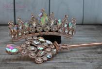wedding photo - FAST SHIPPING!!! Beautiful Rose Gold Girl Sparkling Tiara, Gorgeous Crystal Girl Crown, Stunning Sparkle Girl Tiara, Communion Princess