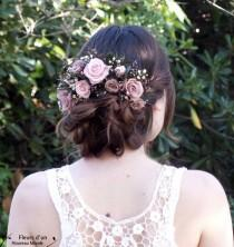 "wedding photo - Half crown ""Lara"" with natural preserved flowers, romantic accessory for bridal bun, half crown of roses and foliage, Blush bridal headpiece"
