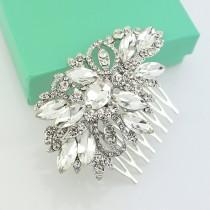 wedding photo - Bridal Rhinestone Comb, Silver Wedding Hair Accessory, Crystal Silver Hair Piece, Bridal Hair Clip, Crystal Rhinestone Hair Combs