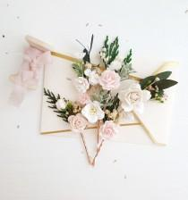 wedding photo - Flowers Bobby pins, Blush pink flower bobby pins, White Set of 6, Blush flower headpiece, Winter hair pins