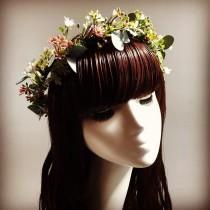wedding photo - Greenery Crown - Eucalyptus Crown - Greenery Headpiece - Greenery Vine - Eucalyptus Hairpiece - Bridal Hair Greenery - Succulent Headpiece