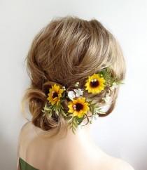 wedding photo - sunflower hair clips bridal, sunflower hair pins, bridal hair pins flower, sunflower hair clip, yellow hair flower, floral hair pins wedding