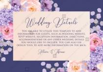 wedding photo -  Wedding details card pink peach peony hydrangea violet anemone eucalyptus greenery pdf custom online editor floral background