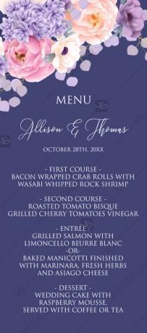 wedding photo -  Wedding menu card pink peach peony hydrangea violet anemone eucalyptus greenery pdf custom online editor custom invitation