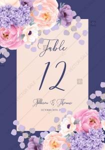 wedding photo -  Table place card pink peach peony hydrangea violet anemone eucalyptus greenery pdf custom online editor bridal shower invitation