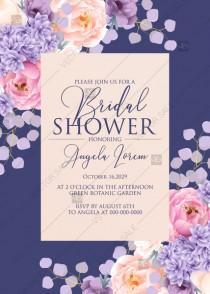 wedding photo -  Bridal shower invitation pink peach peony hydrangea violet anemone eucalyptus greenery pdf custom online editor