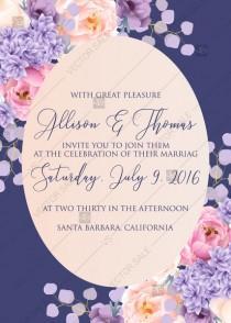 wedding photo -  Wedding invitation pink peach peony hydrangea violet anemone eucalyptus greenery pdf custom online editor baby shower invitation