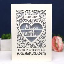 wedding photo - Personalised Papercut On Your Wedding Day Card, Laser Cut Wedding Card, Paper Cut Card for Weddings, sku_On_Your_Wedding_Day