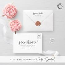 wedding photo - Calligraphy Envelope Template Wedding Editable DIY Printable Wedding Envelope A7 A6 Envelope Address Template Instant Download Templett R1