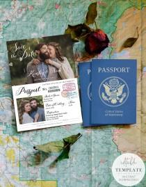 wedding photo - Vintage Passport-Style Save the Date OR Wedding Invitation, Editable, Printable Template, Customize for any event!