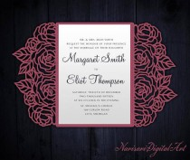 wedding photo - Roses Laser cut Wedding invitation, 5x7 Gate fold Card Template, Quinceanera Invitation, SVG cutting file, Silhouette Cameo, Cricut