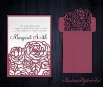 wedding photo - Roses Wedding Invitation Pocket Envelope 5x7, SVG Template, Quinceanera card, floral laser cut file, Silhouette Cameo, Cricut